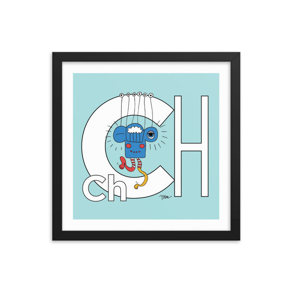 Letter Ch Art Print 14x14 Framed, Aqua, featuring Charlie. For Nursery Rooms, Kids Rooms and Playrooms.