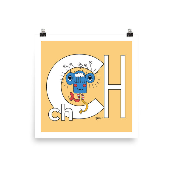 Letter Ch Art Print 10x10, Banana, featuring Charlie. For Nursery Rooms, Kids Rooms and Playrooms.