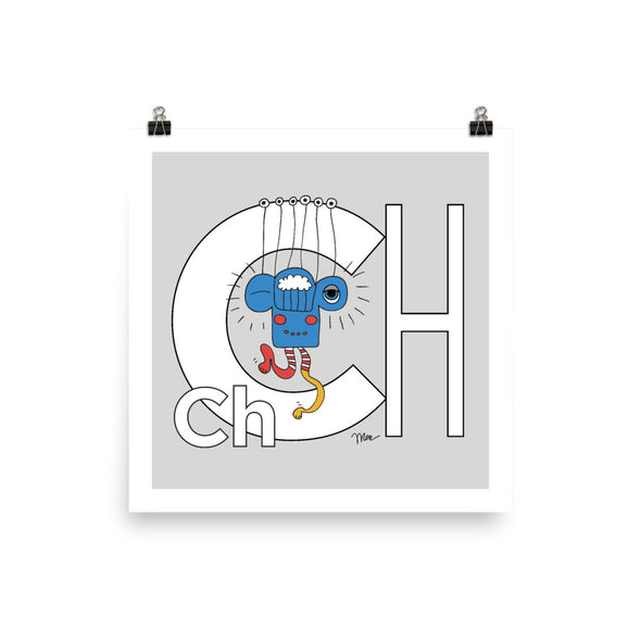 Letter Ch Art Print 10x10, Grey, featuring Charlie. For Nursery Rooms, Kids Rooms and Playrooms.