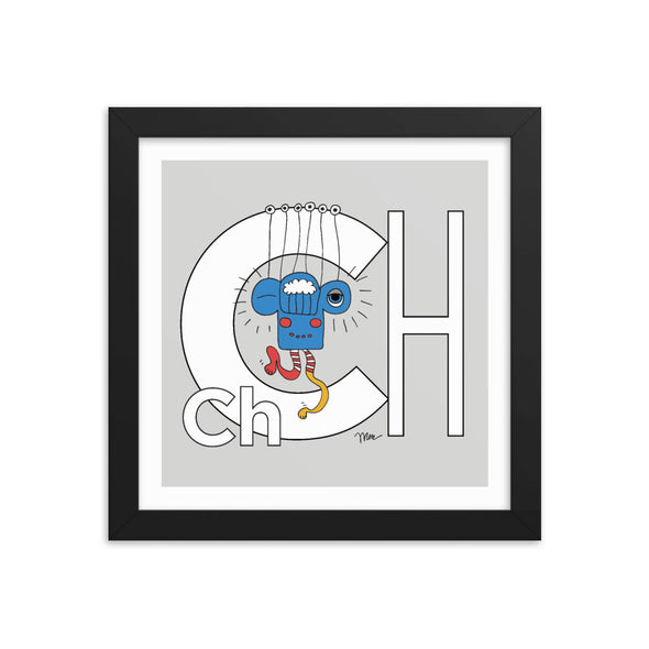 Letter Ch Art Print 10x10 Framed, Grey, featuring Charlie. For Nursery Rooms, Kids Rooms and Playrooms.