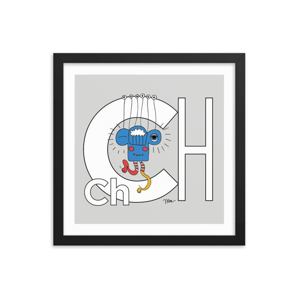 Letter Ch Art Print 14x14 Framed, Grey, featuring Charlie. For Nursery Rooms, Kids Rooms and Playrooms.