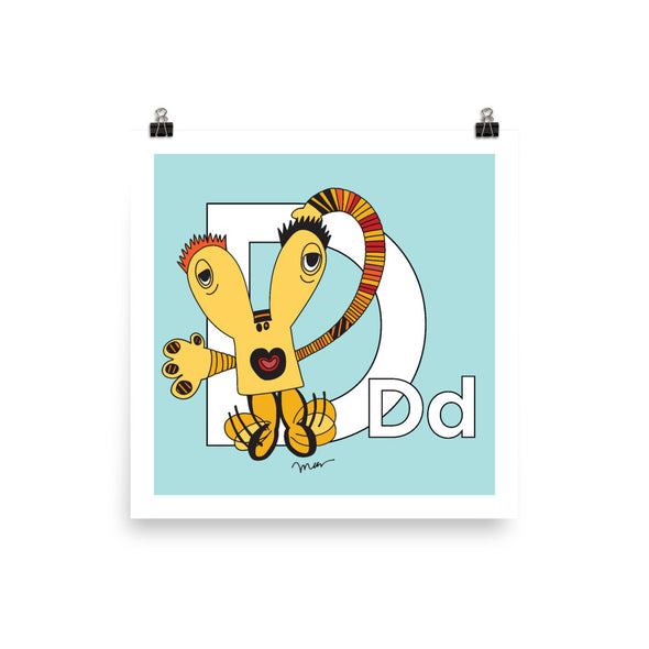 Letter D Art Print 10x10, 14x14, 18x18, Aqua, featuring Dee + Dancipants. For Nursery Rooms, Kids Rooms and Playrooms.