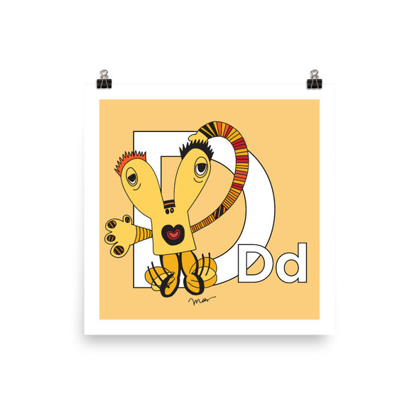 Letter D Art 10x10, 14x14, 18x18 Print, Banana, featuring Dee + Dancipants. For Nursery Rooms, Kids Rooms and Playrooms.