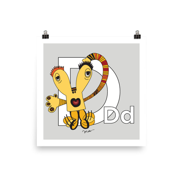 Letter D Art 10x10, 14x14, 18x18 Print, Grey, featuring Dee + Dancipants. For Nursery Rooms, Kids Rooms and Playrooms.