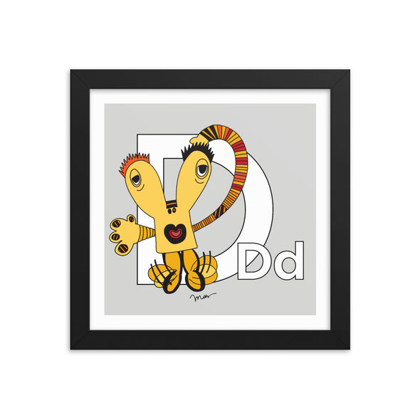 Letter D Art 10x10 Print Framed, Grey, featuring Dee + Dancipants. For Nursery Rooms, Kids Rooms and Playrooms.