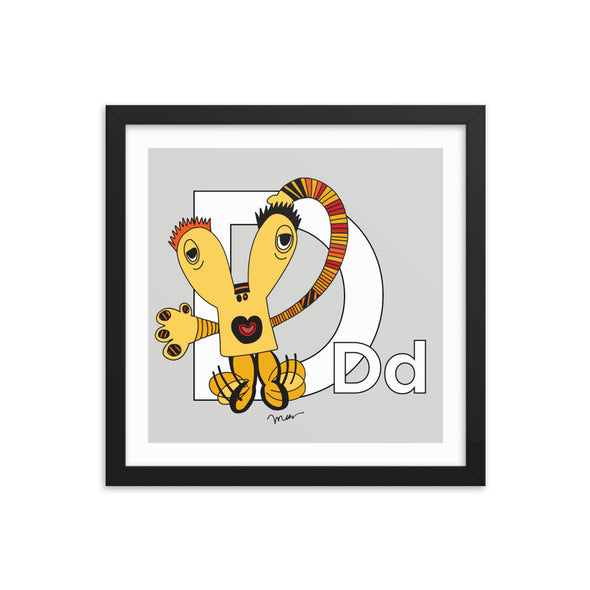 Letter D Art 14x14 Print Framed, Grey, featuring Dee + Dancipants. For Nursery Rooms, Kids Rooms and Playrooms.