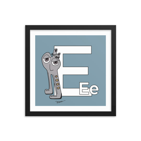 The Letter E Print. The MoMeMans™ by Monica Escobar Allen