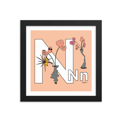 The MoMeMans® Nursery and Kid's Room Letter N Print by Monica Escobar Allen. For our no-nonsense little N friends.