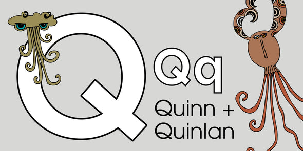 The MoMeMans™ ZYX Project. Letter Q: Quinn + Quinlan by Monica Escobar Allen.