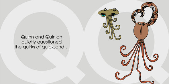 Quinn and Quinlan quietly quibble over the quirks of quicksand... The MoMeMans® ZYX Project. Letter Q: Quinn + Quinlan by Monica Escobar Allen.