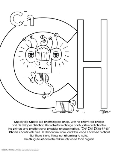 FREE Alphabet Printable Letter [sound] Ch from The MoMeMans® ZYX Project: Alliterative Alphabet Tales with Valuable Life Lessons by Monica Escobar Allen.