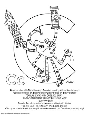 FREE Alphabet Printable Letter C from The MoMeMans® ZYX Project: Alliterative Alphabet Tales with Valuable Life Lessons by Monica Escobar Allen.
