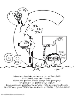 FREE Alphabet Printable Letter G from The MoMeMans® ZYX Project: Alliterative Alphabet Tales with Valuable Life Lessons by Monica Escobar Allen.