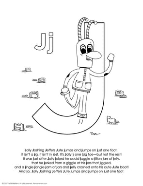 FREE Alphabet Printable Letter J from The MoMeMans® ZYX Project: Alliterative Alphabet Tales with Valuable Life Lessons by Monica Escobar Allen.
