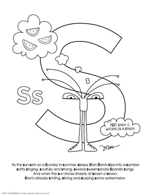 FREE Alphabet Printable Letter S from The MoMeMans® ZYX Project: Alliterative Alphabet Tales with Valuable Life Lessons by Monica Escobar Allen.
