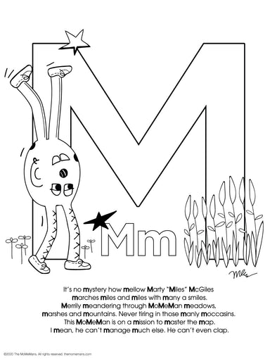 FREE Alphabet Printable Letter M from The MoMeMans® ZYX Project: Alliterative Alphabet Tales with Valuable Life Lessons by Monica Escobar Allen.