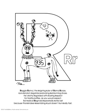 FREE Alphabet Printable Letter R from The MoMeMans® ZYX Project: Alliterative Alphabet Tales with Valuable Life Lessons by Monica Escobar Allen.