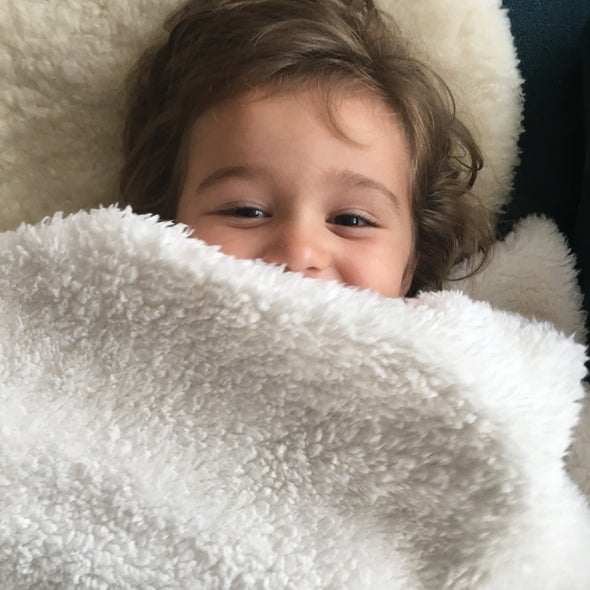 The MoMeMans® Barbara Birdie Teddy Bear Sherpa SHH™ Kids Blanket by Monica Escobar Allen