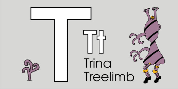 The MoMeMans® ZYX Project: Alliterative Tales from Z to A. Letter T: Trina Treelimb by Monica Escobar Allen. Learning the ABCs for Babies and Tots.