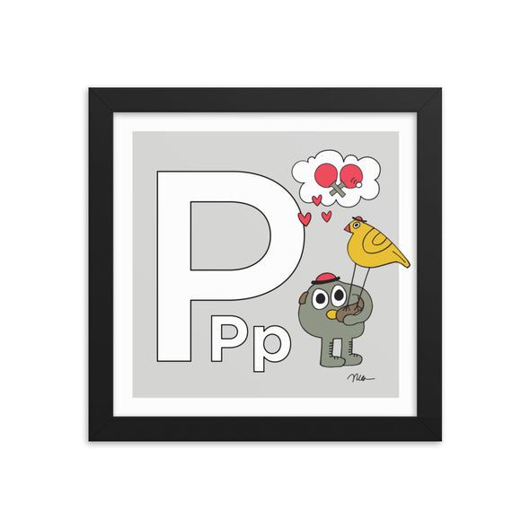 Letter P Print. The MoMeMans® Nursery and Kid's Room Alphabet Wall Art by Monica Escobar Allen.