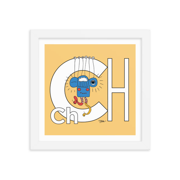 10x10 Framed Letter Ch Art Print, Banana, featuring Charlie from the ZYX Project. For Nursery Rooms, Kids Rooms and Playrooms.