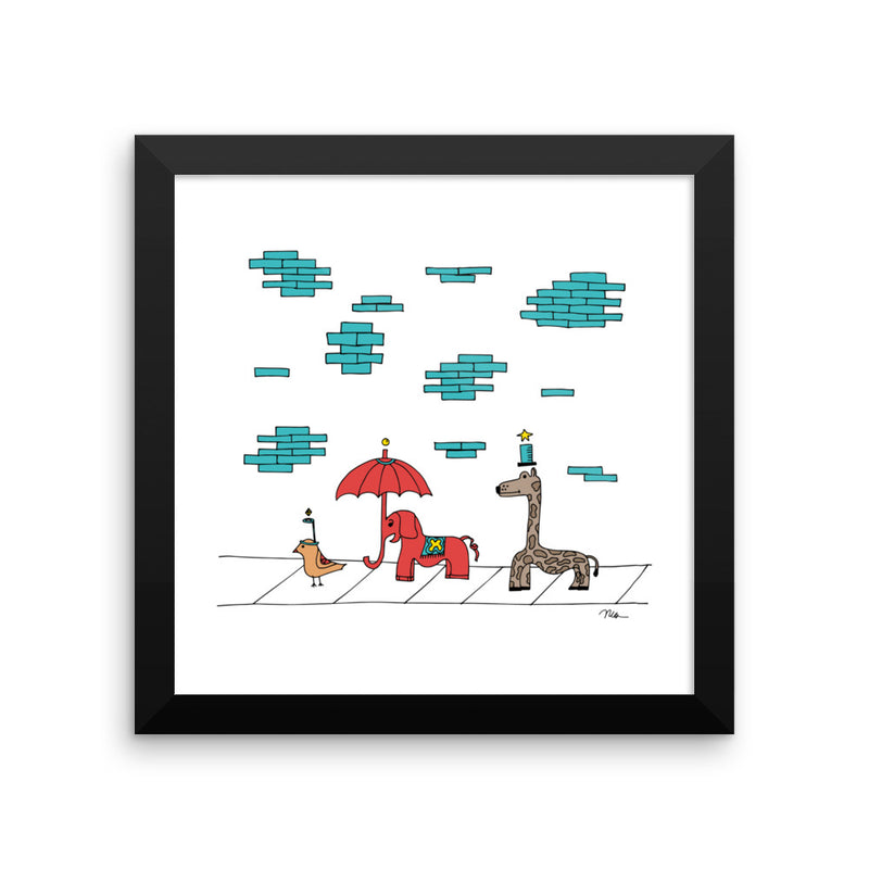 The MoMeMans® The Sidewalkers Print Framed by Monica Escobar Allen