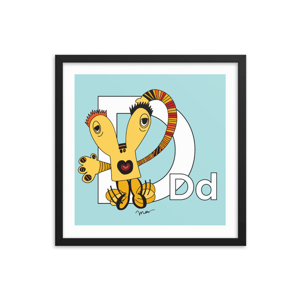 Letter D Art Print 18x18 Framed, Aqua, featuring Dee + Dancipants. For Nursery Rooms, Kids Rooms and Playrooms.