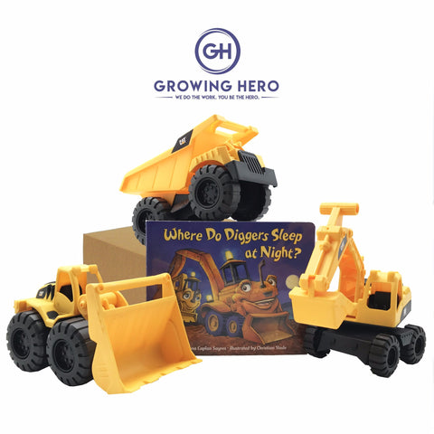 CAT Toy Trucks & Where Do Diggers Sleep At Night? Book - Deluxe Set