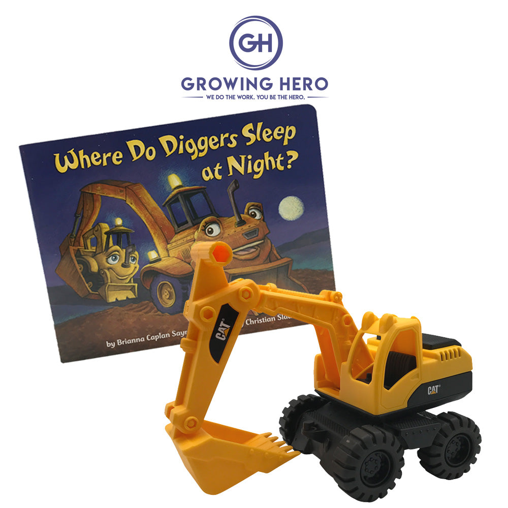 CAT Toy Digger Truck & Where Do Diggers Sleep At Night? Book Set