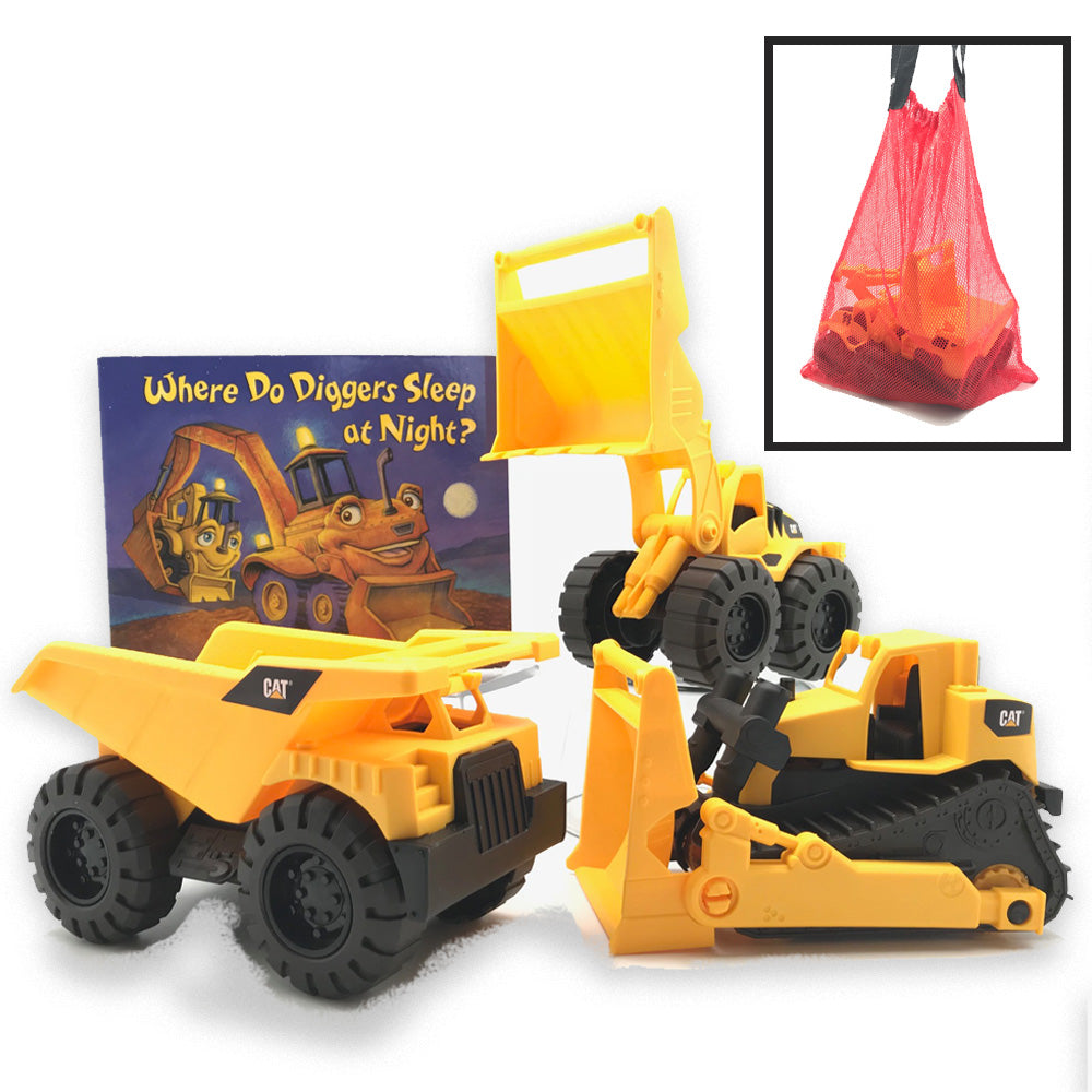 CAT Toy Truck Sets by Growing Hero (3 Trucks, Bag & Book)