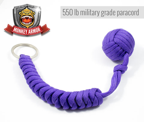 Purple Monkey Fist Paracord Keychain