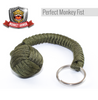 Dark Green Monkey Fist Paracord Keychain