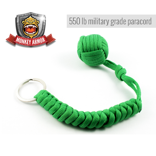 Bright Green Monkey Fist Self Defense Keychain