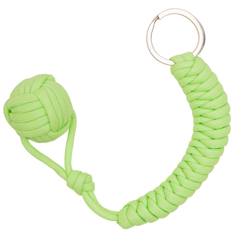 Green Glow in the Dark Monkey Fist Paracord Keychain