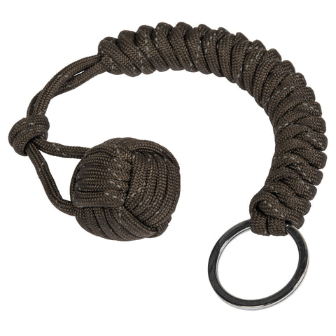 Reflective Gun Metal  Monkey Fist Paracord Keychain