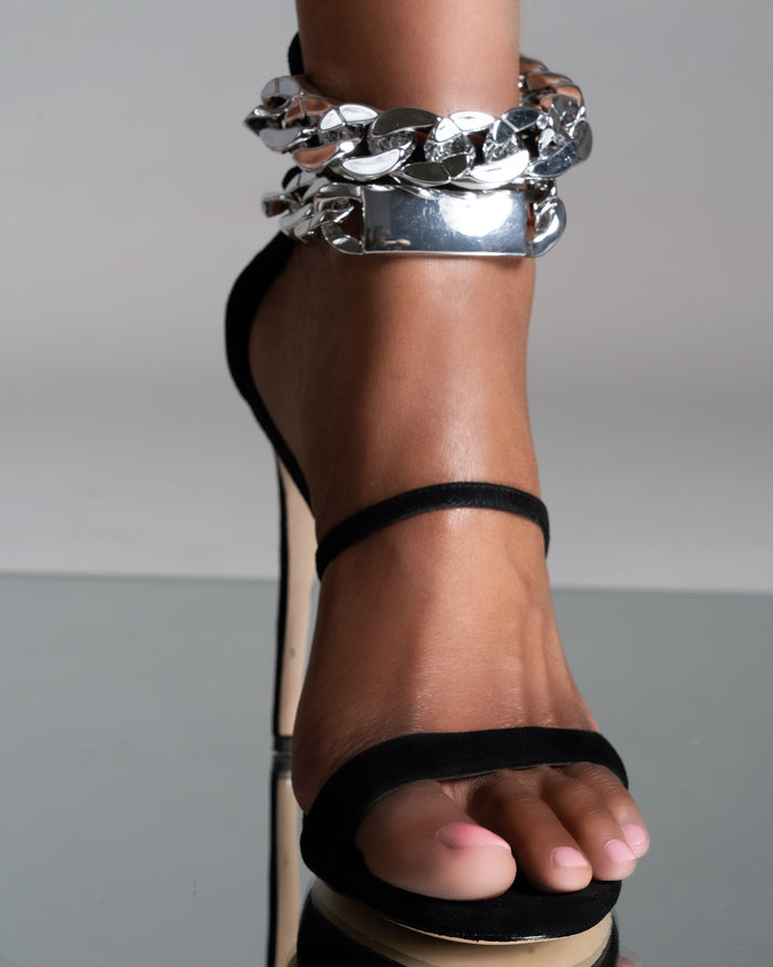 SILVER CHAIN OPEN TOE SANDAL