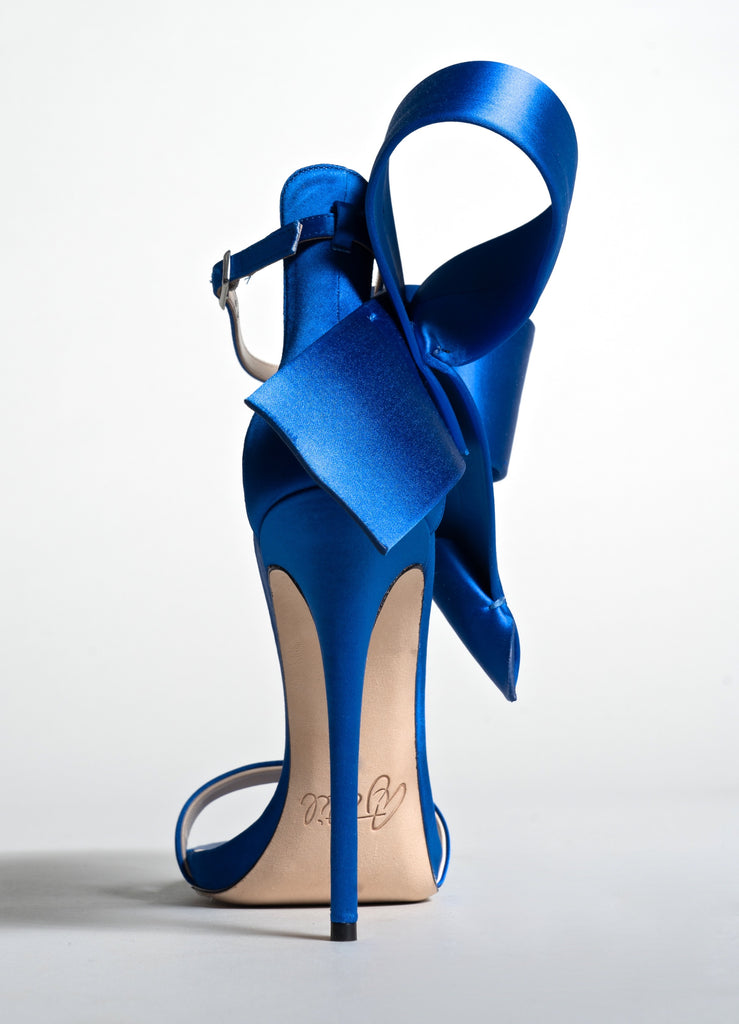 BLUE SATIN OPEN TOE