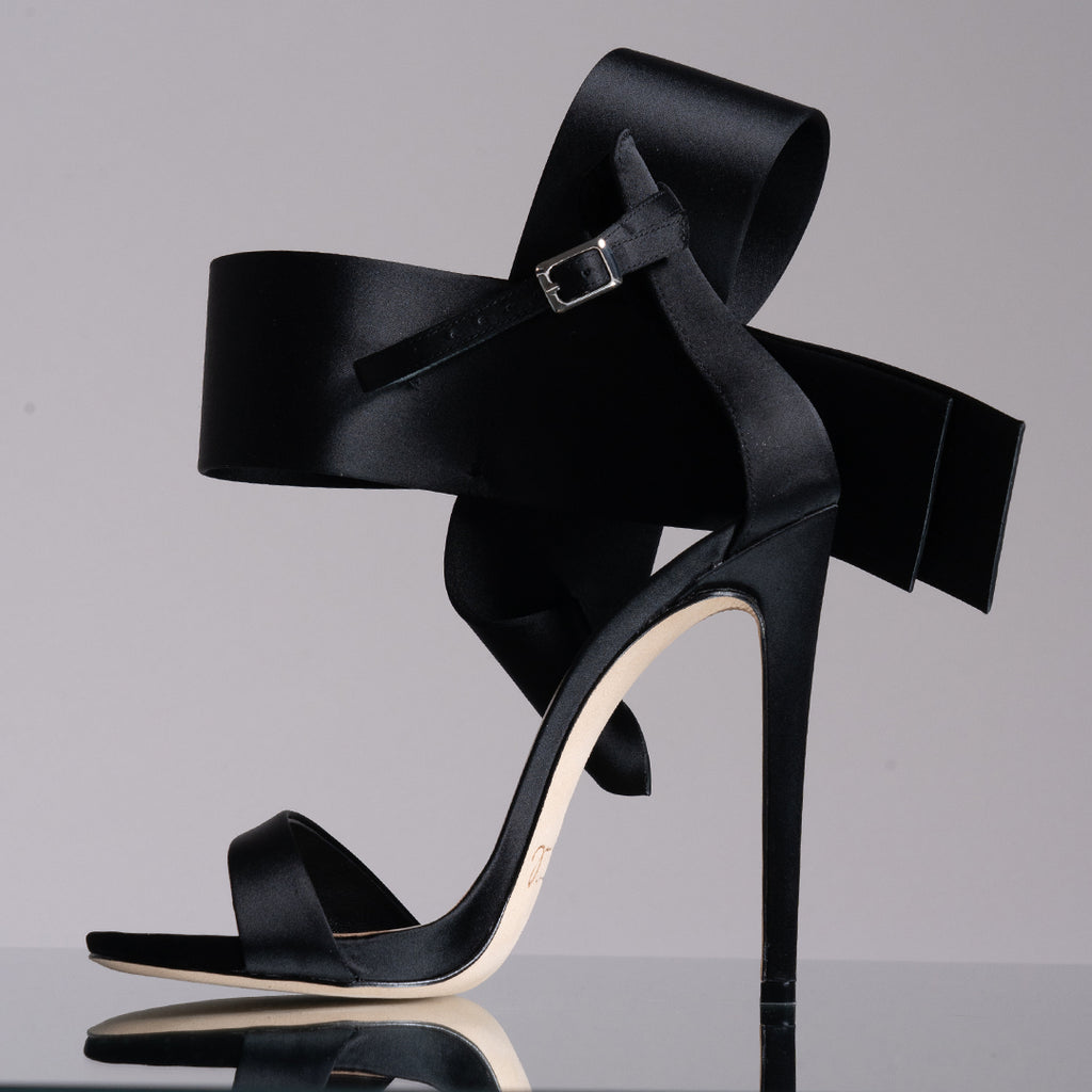 Black Satin Open Toe