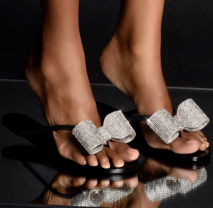 CRYSTAL FLIP FLOP BLACK
