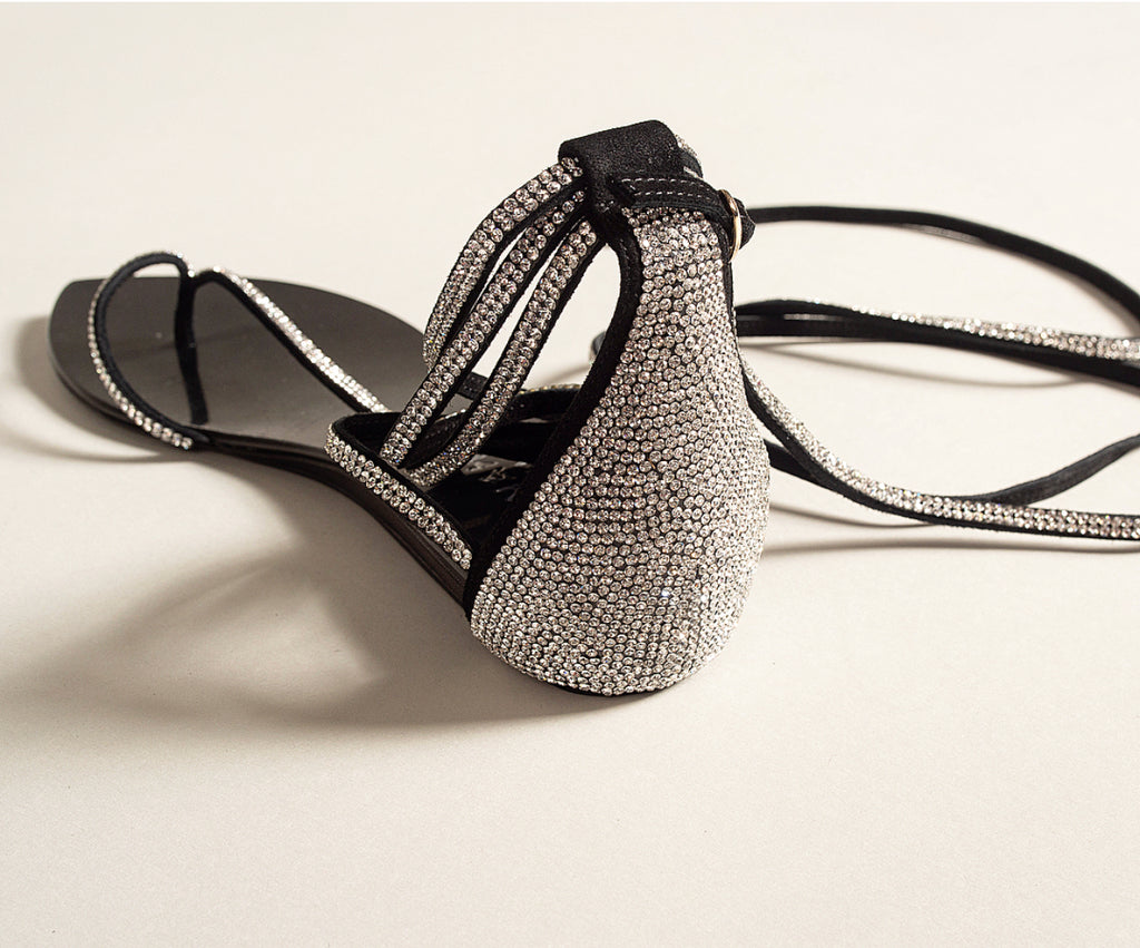 CRYSTAL T-STRAP BLACK