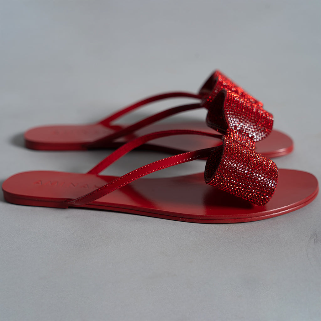 CRYSTAL FLIP FLOP RED
