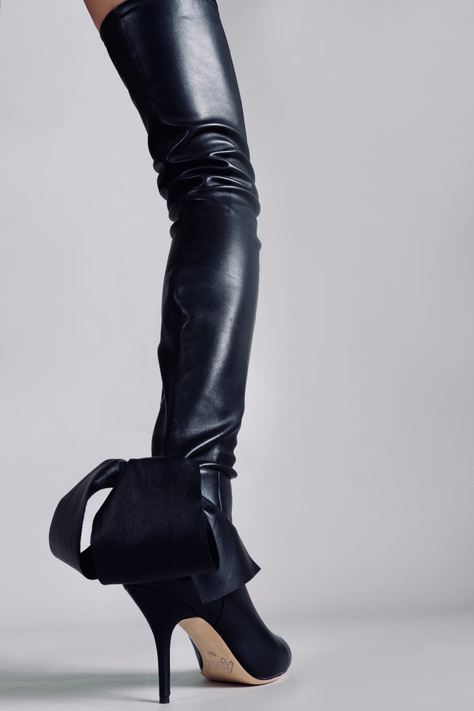 "THIGH HIGH STRETCH BOOT 3"" HEEL"