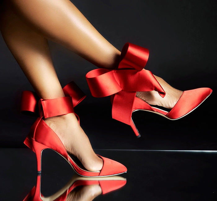 RED KITTEN BOW PUMP