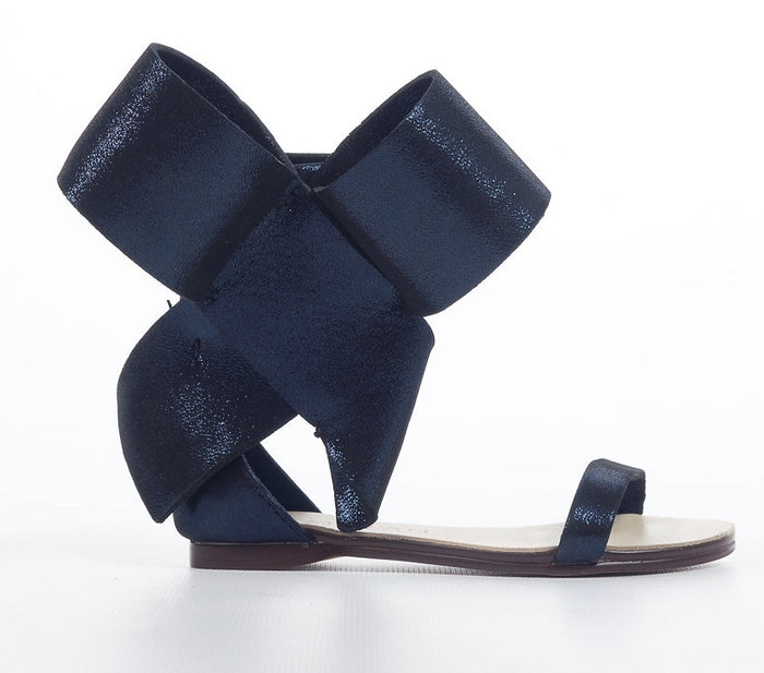 KIDS BOW SANDAL METALLIC BLUE