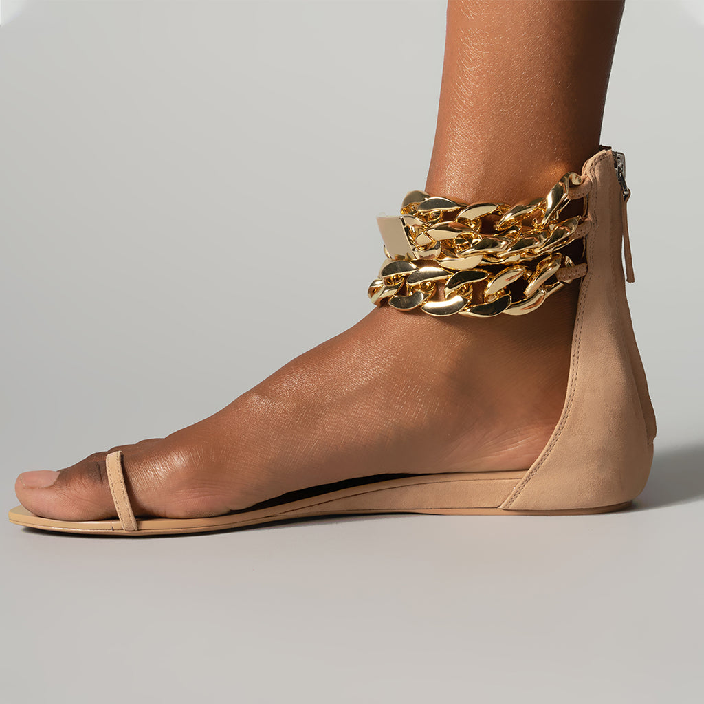 GOLD CHAIN FLAT SANDAL TAN