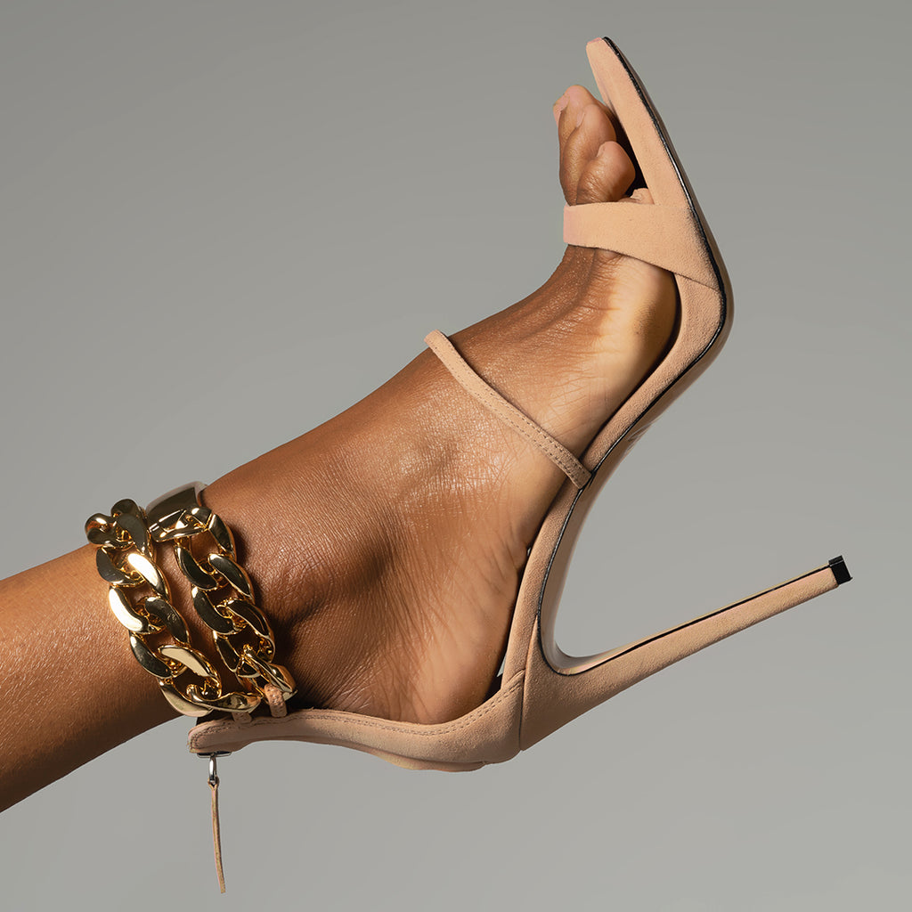 GOLD CHAIN OPEN TOE SANDAL TAN