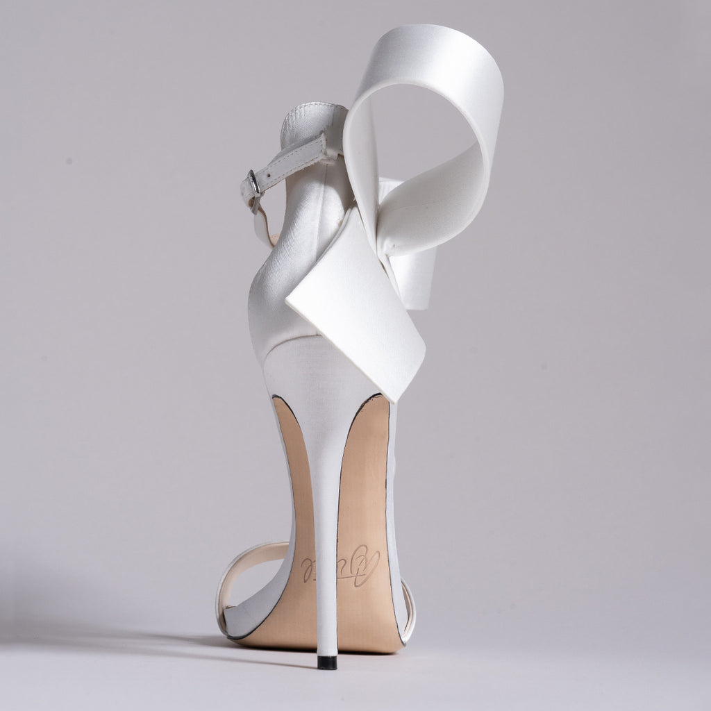 WHITE SATIN OPEN TOE