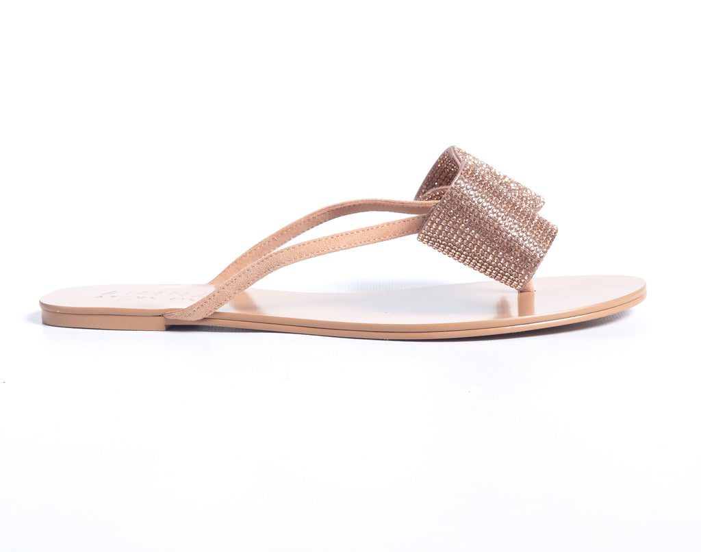 CRYSTAL FLIP FLOP ROSE GOLD