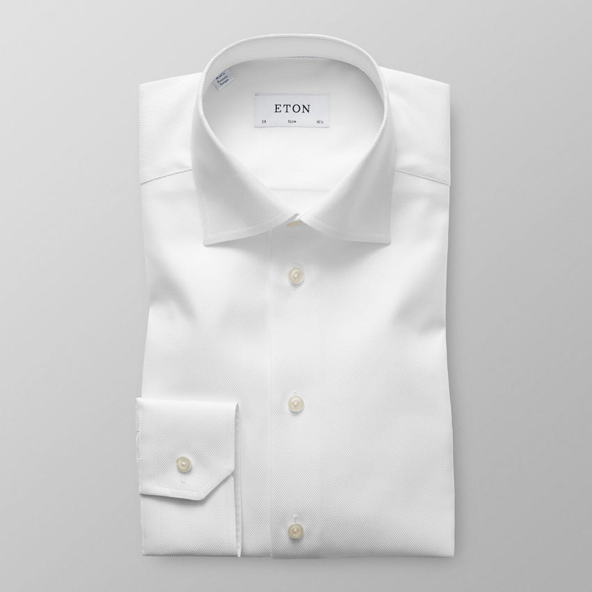 ETON® | Slim Fit White Textured Twill Shirt