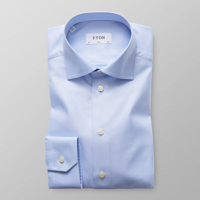 ETON® | Slim Fit Textured Twill Shirt - Light Blue